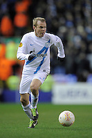 21.02.2013 Liverpool, England. Aleksandr Anyukov  of Zenit St Petersburg in action during the Europa League game between Liverpool and Zenit St Petersburg from Anfield. Liverpool won 3-1 on the night but went out of the competition on away goals.