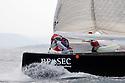Louis Vuitton Trophy La Maddalena 27 maggio 2010. I prodieri di Artemis all'issata di spi durante una regata con Mascalzone Latino.