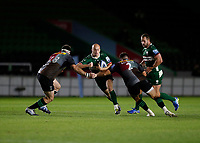 9th September 2020; Twickenham Stoop, London, England; Gallagher Premiership Rugby, London Irish versus Harlequins; Jacob Atkins of London Irish is tackled by Will Collier and Scott Baldwin of Harlequins