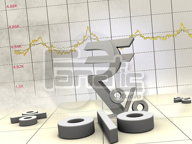 Indian currency symbol with line graph