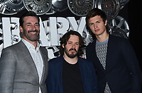 Jon Hamm + Edgar Wright + Ansel Elgort @ the photocall for TriStar Pictures 'Baby Driver' held @ The Colosseum at Caesars Palace.<br /> March 27, 2017 , Las Vegas, USA. # SONY PRESENTATION AT CINEMA CON 2017