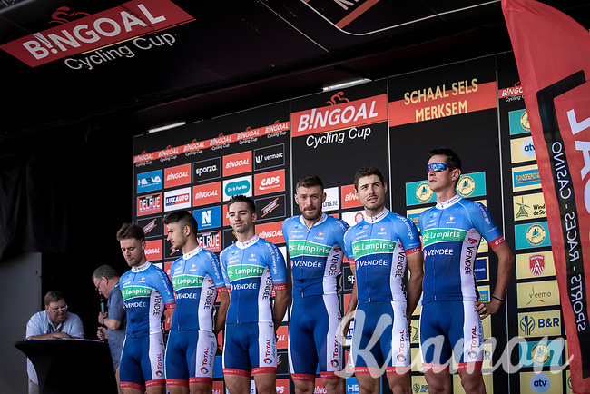 Team Total Direct Energie pre race team presentation.  <br /> <br /> 94th Schaal Sels 2019<br /> One Day Race: Merksem  >  Merksem  (UCI 1.1)<br /> ©kramon