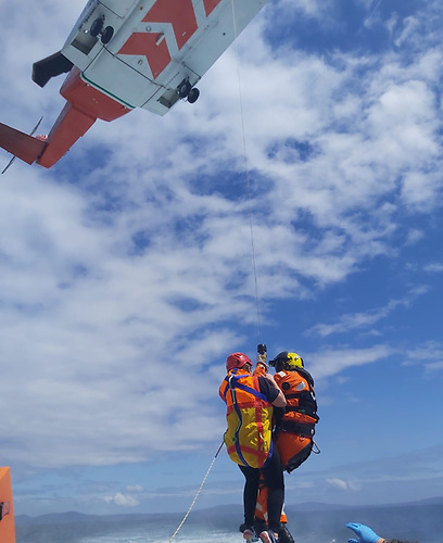The ill woman on board a local angling boat off the West Cork Coast rescued by Coastguard Helicopter
