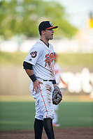 Fresno Grizzlies third baseman JD Davis (21) during a Pacific Coast League game against the Salt Lake Bees at Chukchansi Park on May 14, 2018 in Fresno, California. Fresno defeated Salt Lake 4-3. (Zachary Lucy/Four Seam Images)