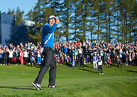 26.09.2014. Gleneagles, Auchterarder, Perthshire, Scotland.  The Ryder Cup, Day 1.   Sergio Garcia celebrates his shot out of the bunker for birdie to win the fourth hole during the Friday Fourballs.