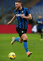 Football, Serie A: AS Roma -  FC Internazionale Milano, Olympic stadium, Rome, January 10, 2021. <br /> Inter's Milan Skriniar in action during the Italian Serie A football match between Roma and Inter at Rome's Olympic stadium, on January 10, 2021.  <br /> UPDATE IMAGES PRESS/Isabella Bonotto