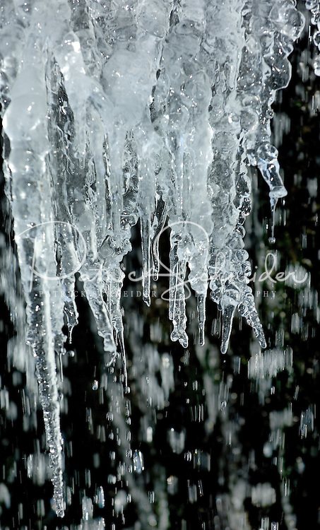 Icicles in Avery County, North Carolina, and the Blue Ridge Parkway.
