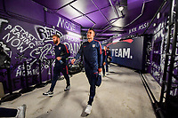 ORLANDO, FL - NOVEMBER 15: Tim Ream #13 and Aaron Long #3 of the United States walks through the tunnel out to the field during a game between Canada and USMNT at Exploria Stadium on November 15, 2019 in Orlando, Florida.