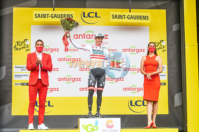 Austrian Champion Patrick Konrad (AUT) Bora-Hansgrohe wins Stage 16 and the day's combativity prize of the 2021 Tour de France, running 169km from Pas de la Case to Saint-Gaudens, France. 13th July 2021.  <br /> Picture: A.S.O./Charly Lopez   Cyclefile<br /> <br /> All photos usage must carry mandatory copyright credit (© Cyclefile   A.S.O./Charly Lopez)
