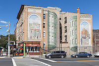 """One of the """"Gateway to Waterfront"""" murals on a building wall in the Richard Haas Mural Historic District in Yonkers, New York."""