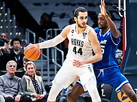 WASHINGTON, DC - FEBRUARY 05: Omer Yurtseven #44 of Georgetown pushes into Romaro Gill #35 of Seton Hall during a game between Seton Hall and Georgetown at Capital One Arena on February 05, 2020 in Washington, DC.