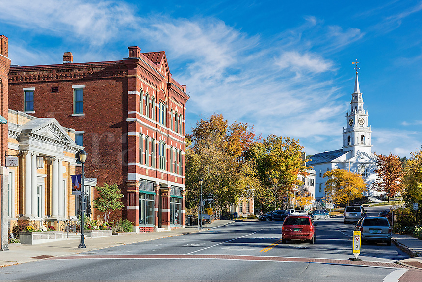 Charming downtown Middlebury, Vermont, USA.
