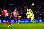 Ousmane Dembele of FC Barcelona (R) and Filipe Luis of Atletico de Madrid (L) in action during the La Liga 2018-19 match between Atletico Madrid and FC Barcelona at Wanda Metropolitano on November 24 2018 in Madrid, Spain. Photo by Diego Souto / Power Sport Images