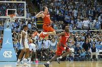 CHAPEL HILL, NC - JANUARY 11: Hunter Tyson #5 and John Newman III #15 of Clemson University celebrate during a game between Clemson and North Carolina at Dean E. Smith Center on January 11, 2020 in Chapel Hill, North Carolina.