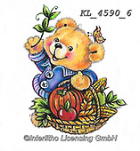 CUTE ANIMALS, LUSTIGE TIERE, ANIMALITOS DIVERTIDOS, paintings+++++,KL4590/6,#ac#, EVERYDAY ,sticker,stickers ,bear,bears ,autumn