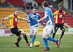 St Johnstone v Partick Thistle…11.02.17     Scottish Cup    McDiarmid Park<br />Danny Swanson goes past Niall Keown<br />Picture by Graeme Hart.<br />Copyright Perthshire Picture Agency<br />Tel: 01738 623350  Mobile: 07990 594431