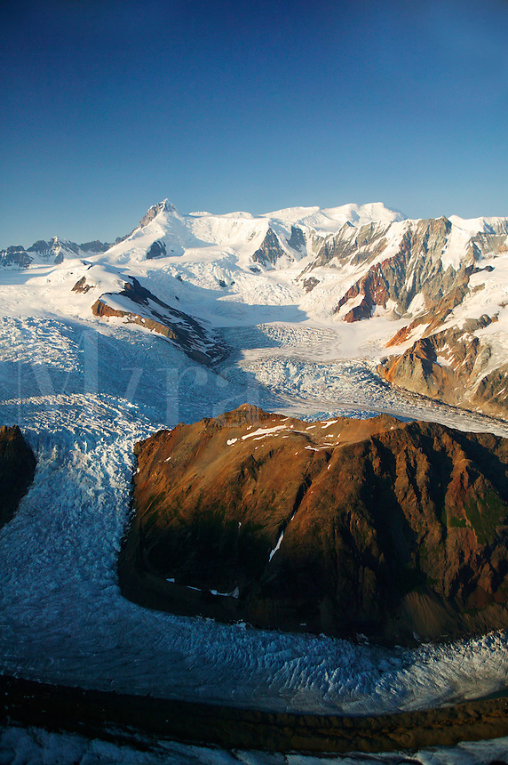 Glaciers flowing down from Regal Moutain (13,845 feet) Wrangell Saint Elias National Park and Preserve, Alaska