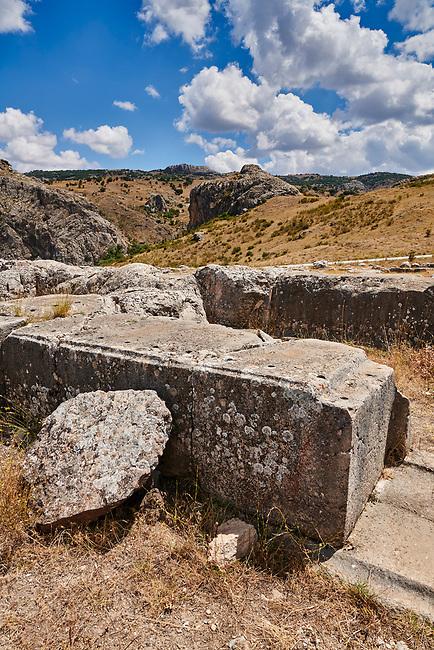 Dressed stone blocks of Temple I walls, Hattusa (also Ḫattuša or Hattusas) late Anatolian Bronze Age capital of the Hittite Empire. Hittite archaeological site and ruins, Boğazkale, Turkey.