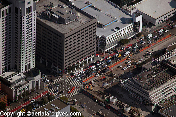 aerial photograph of the W San Francisco hotel and traffic at the intersection of Third and Howard Streets, South of Market Street, SoMa, San Francisco, California
