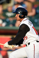 Lansing Lugnuts outfielder Derrick Loveless (15) at bat during a game against the South Bend Silver Hawks on June 6, 2014 at Cooley Law School Stadium in Lansing, Michigan.  South Bend defeated Lansing 13-5.  (Mike Janes/Four Seam Images)