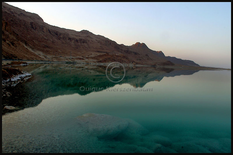 A landscape of the Dead Sea on the Israeli side. The inland sea which separates between Israel and Jordan is retreating by about a meter a year as the two countries divert almost 90% of the Jordan River waters that for thousands of years fed the mineral-rich sea. They are now seeking international support for a plan to pipe water north from the Gulf of Aqaba to the Dead Sea to rescue the shrinking sea. Photo by Quique Kierszenbaum....
