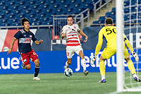 FOXBOROUGH, MA - AUGUST 21: Jonathan Bolanos #17 of Richmond Kickers takes a shot during a game between Richmond Kickers and New England Revolution II at Gillette Stadium on August 21, 2020 in Foxborough, Massachusetts.