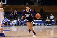 DURHAM, NC - NOVEMBER 17: Veronica Burton #12 of Northwestern University drives with the ball during a game between Northwestern University and Duke University at Cameron Indoor Stadium on November 17, 2019 in Durham, North Carolina.