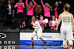 Oakland's Sha'Keya Graves celebrates after making the game-winning layup with 2.2 seconds left while getting fouled by Green Bay, Thursday, Feb. 2, 2017 in Rochester, Mich.  Oakland defeated No. 21/24 Green Bay, 74-71.  (Oakland Athletics/Jose Juarez)