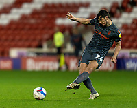 21st November 2020, Oakwell Stadium, Barnsley, Yorkshire, England; English Football League Championship Football, Barnsley FC versus Nottingham Forest; Scott McKenna of Nottingham Forrest plays a pass through midfield