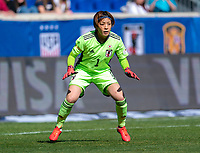 HARRISON, NJ - MARCH 08: Sakiko Ikeda #1 of Japan sets herself during a game between England and Japan at Red Bull Arena on March 08, 2020 in Harrison, New Jersey.