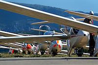 Startaufstellung Segelflugzeuge: Frankreich 21.08.2013: Startaufstellung Segelflugzeuge