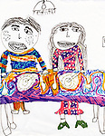 Drawing of two people eating by 7 year old girl