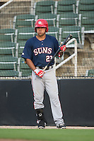 Austin Davidson (23) of the Hagerstown Suns waits for his turn to bat during the game against the Kannapolis Intimidators at CMC-Northeast Stadium on August 16, 2015 in Kannapolis, North Carolina.  The Suns defeated the Intimidators 4-3 in game two of a double-header.  (Brian Westerholt/Four Seam Images)