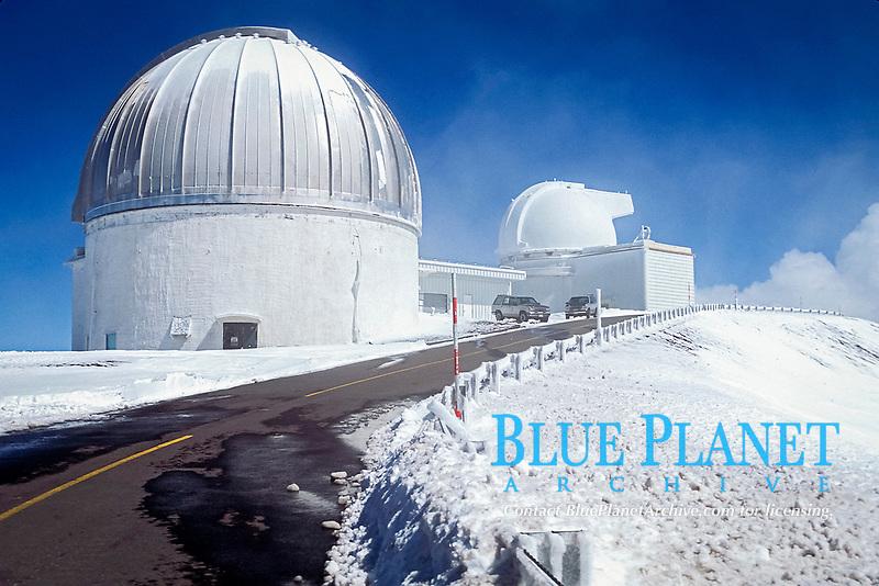 observatories on Mauna Kea with snow, Big Island, Hawaii, Pacific Ocean