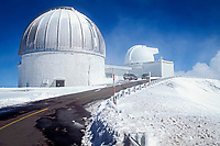 observatories on Mauna Kea with snow, Big Island, Hawaii, Pacific Ocean