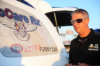 Jul, 8, 2011; Joliet, IL, USA: NHRA funny car crew member Jason Sharp for driver Melanie Troxel during qualifying for the Route 66 Nationals at Route 66 Raceway. Mandatory Credit: Mark J. Rebilas-