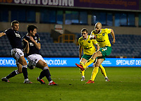 2nd February 2021; The Den, Bermondsey, London, England; English Championship Football, Millwall Football Club versus Norwich City; Teemu Pukki of Norwich City taking a shot on goal