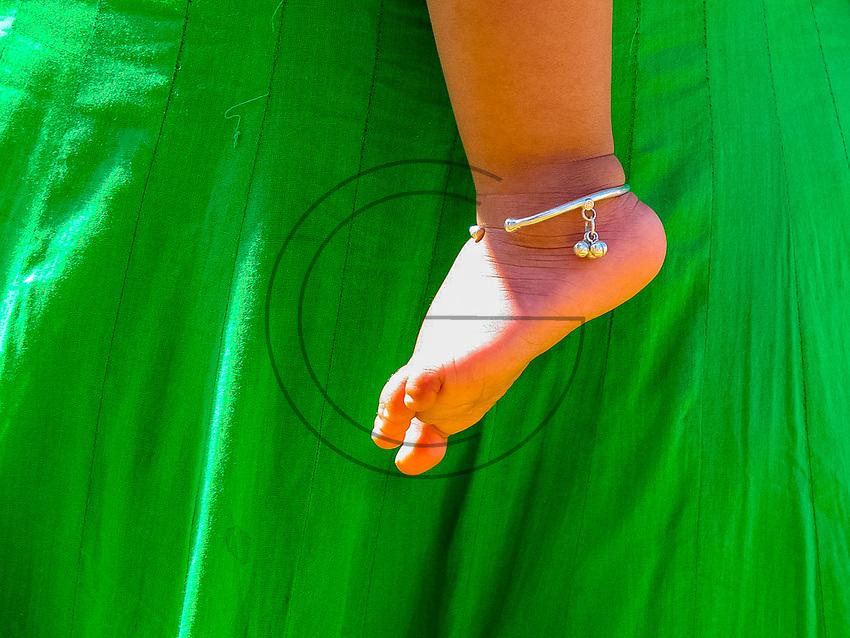 India,Kerala, Thrissur, Utharalikavu, Elephant Pooram  baby decorated foot