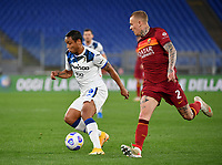 Football, Serie A: AS Roma - Atalanta Olympic stadium, Rome, April 22, 2021. <br /> (l) in action with(r) during the Italian Serie A football match between AS Roma and Atalanta at Rome's Olympic stadium, Rome, on April 22, 2021.  <br /> UPDATE IMAGES PRESS/Isabella Bonotto