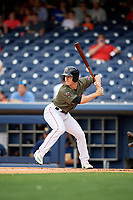 Nashville Sounds second baseman Joey Wendle (13) at bat during a game against the New Orleans Baby Cakes on April 30, 2017 at First Tennessee Park in Nashville, Tennessee.  The game was postponed due to inclement weather in the fourth inning.  (Mike Janes/Four Seam Images)