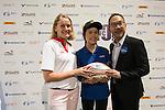 Lisa Foley makes a Charity Donation to Make a Wish Foundation during GFI HKFC Rugby Tens 2016 on 07 April 2016 at Hong Kong Football Club in Hong Kong, China. Photo by Marcio Machado / Power Sport Images