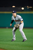 Scranton/Wilkes-Barre RailRiders second baseman Billy Fleming (29) plays in the shift during the second game of a doubleheader against the Rochester Red Wings on August 23, 2017 at Frontier Field in Rochester, New York.  Rochester defeated Scranton 1-0.  (Mike Janes/Four Seam Images)