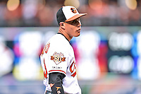 Baltimore Orioles third baseman Manny Machado #13 during a game against the New York Yankees at Oriole Park at Camden Yards August 11, 2014 in Baltimore, Maryland. The Orioles defeated the Yankees 11-3. (Tony Farlow/Four Seam Images)