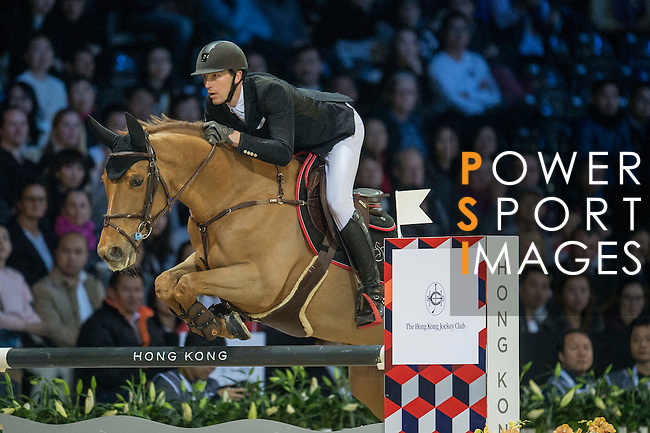Kevin Staut of France riding Ayade de Septon et HDC during the Hong Kong Jockey Club Trophy competition, part of the Longines Masters of Hong Kong on 10 February 2017 at the Asia World Expo in Hong Kong, China. Photo by Juan Serrano / Power Sport Images