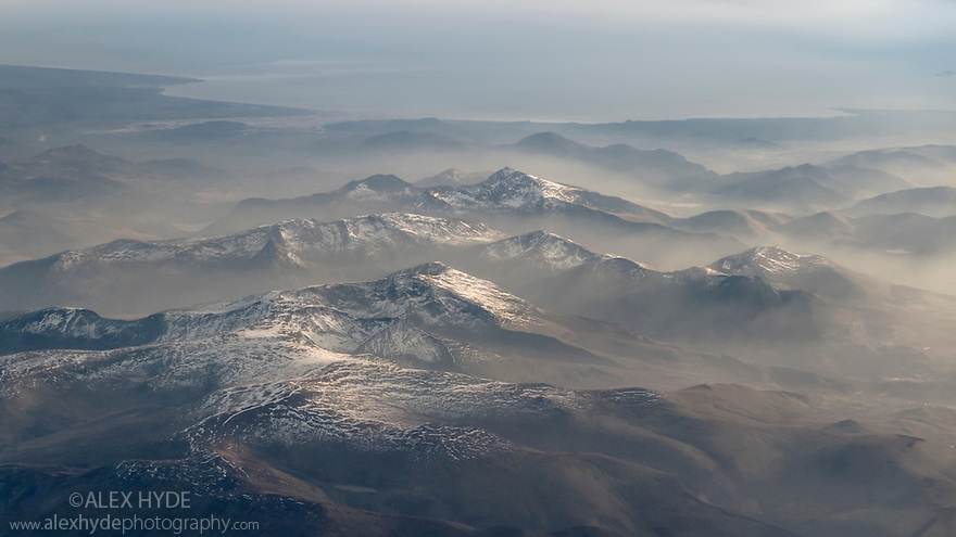 Snowdonia photographed from an aeroplane. Wales, UK. March.