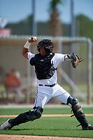 GCL Marlins catcher Luis Arcaya (8) throws down to second base during a Gulf Coast League game against the GCL Astros on August 8, 2019 at the Roger Dean Chevrolet Stadium Complex in Jupiter, Florida.  GCL Astros defeated GCL Marlins 4-2.  (Mike Janes/Four Seam Images)