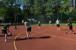 """American soldiers warm up before playing the Poles in a basketball game during a day off for cultural activities, which included sports games between the different participating armies in the NATO """"Saber Strike"""" military exercises, in Drawsko Pomorskie, Poland on June 13, 2015.  NATO is engaged in a multilateral training exercise """"Saber Strike,"""" the first time Poland has hosted such war games, involving the militaries of Canada, Denmark, Germany, Poland, and the United States."""