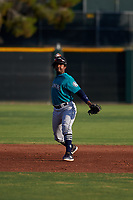 AZL Mariners shortstop Osiris Castillo (38) throws to first base during an Arizona League game against the AZL Giants Orange on July 18, 2019 at the Giants Baseball Complex in Scottsdale, Arizona. The AZL Giants Orange defeated the AZL Mariners 7-4. (Zachary Lucy/Four Seam Images)