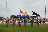 General view of the flag being presented for the national anthem before a Batavia Muckdogs game against the Brooklyn Cyclones on July 4, 2016 at Dwyer Stadium in Batavia, New York.  Brooklyn defeated Batavia 5-1.  (Mike Janes/Four Seam Images)