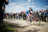 Frederik Backaert (BEL/Wanty-Groupe Gobert) leading the race with less than 25km to go in sector 6: Bourghelles à Wannehain (1.1km)<br /> <br /> 113th Paris-Roubaix 2015